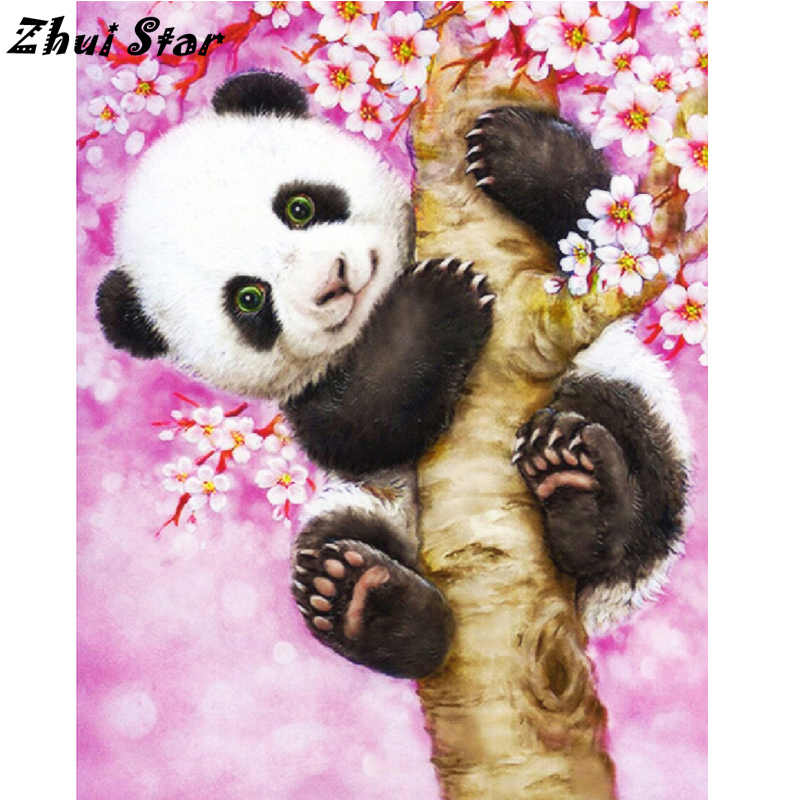NEW Full Square Diamond 5D DIY Diamond Painting Panda on cherry tree Cross Stitch Rhinestone Mosaic Painting Decor FC983