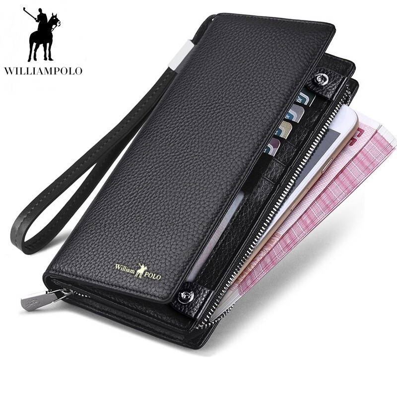 WilliamPOLO 2018 New Mens Wallet Zipper Hasp Design Long Genuine Leather Business Phone For Credit Cards Clutch Wallet Men Gift 2018 new mens long wallet 100