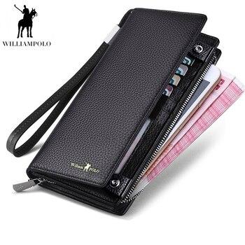 WilliamPOLO 2019 جديد رجل محفظة سستة غلق بمشبك تصميم طويلة جلد طبيعي الأعمال الهاتف لبطاقات الائتمان مخلب المحفظة الرجال هدية