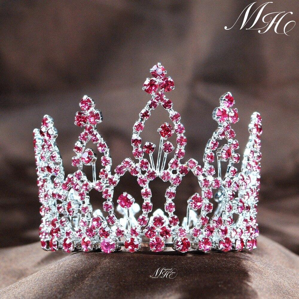 تيجان ملكية  امبراطورية فاخرة -font-b-Mini-b-font-Pink-font-b-Tiara-b-font-Circle-Round-Hair-Crown