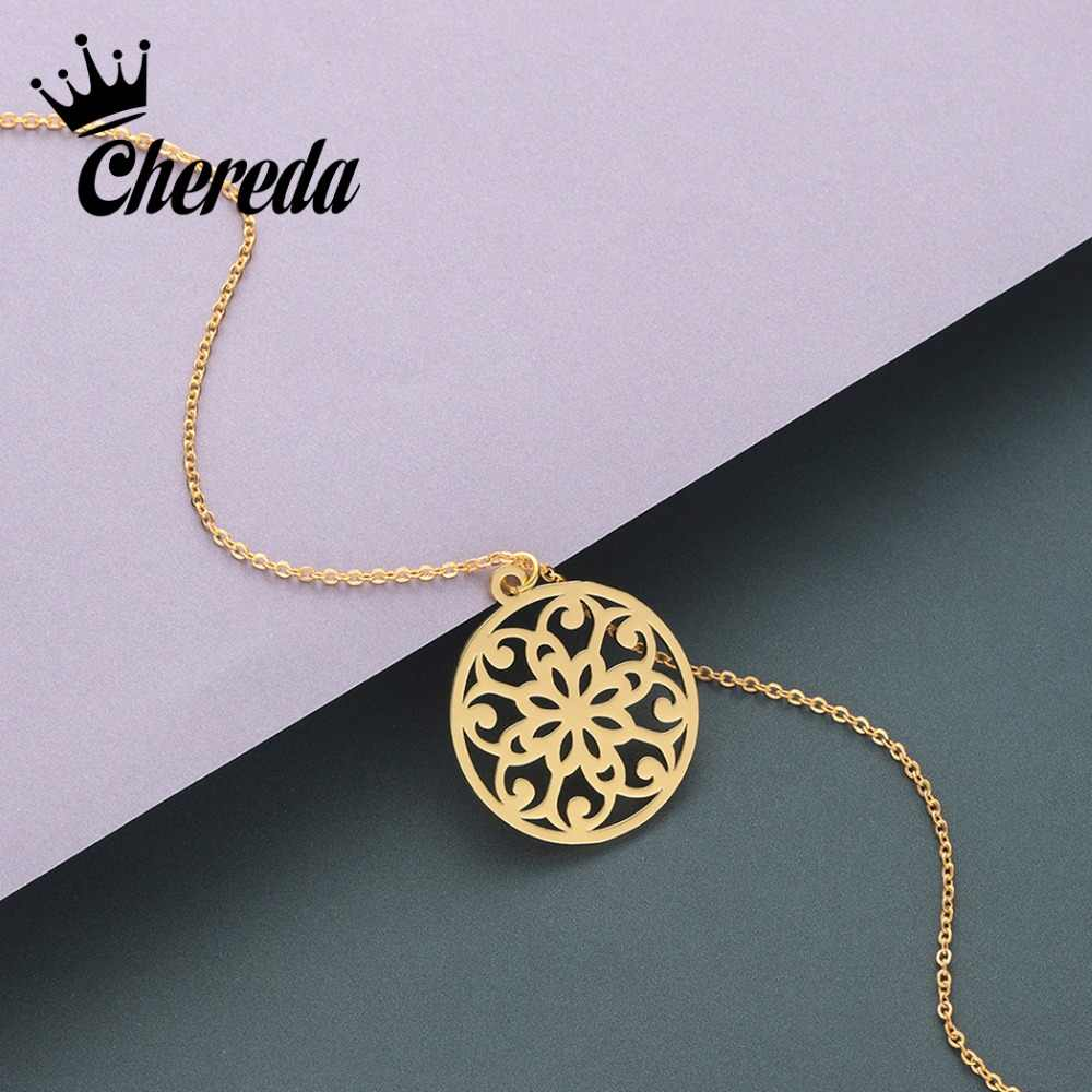 Chereda Gold Mandala Necklace Dainty Thin Simple Chain Pendant Women Choker Jewelry Chain Valentine's Day