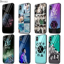 Phone Case Glass For iPhone X XS Max XR 7 8 6 6S Plus 5 5S SE Cover Kpop Exo Lucky One Shell Bag(China)