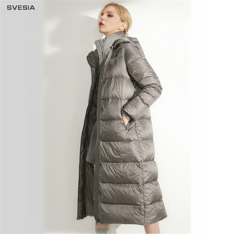 SVESIA Winter Women's   Down     Coats   2018 Fashion Hooded Long Quality Duck   Down   Warm Women Jatckets   Coat   Jacket