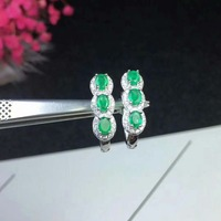 SHILOVEM 925 sterling silver real Natural Emerald stud earrings classic fine Jewelry women wedding wholesale 3*4mm de030401agml