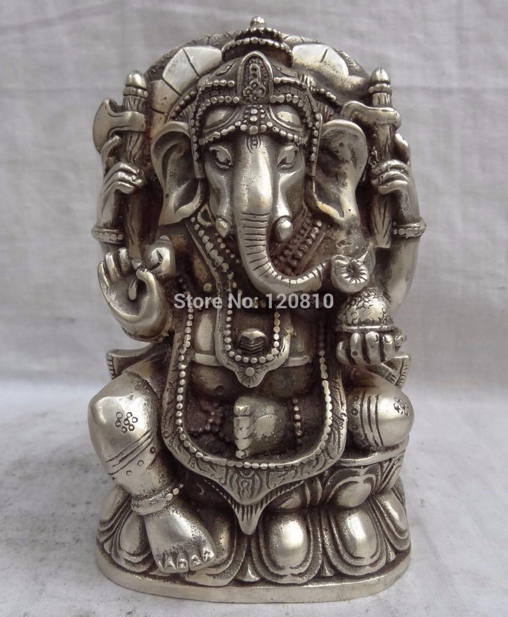 Zhaorui6600020 + + Tibet Argent Lotus 4 Bras Ganapati Ganesh Seigneur Ganesha Bouddha Souris Statue