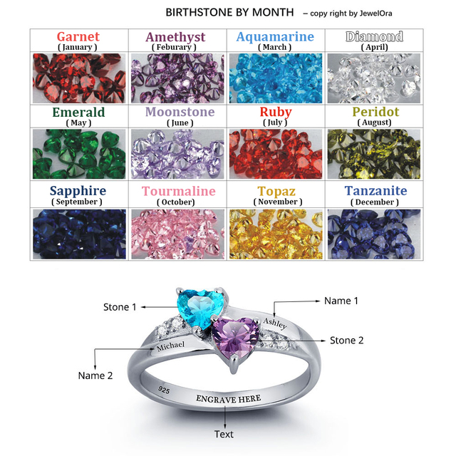 Personalized Name Ring Lover 925 Sterling Silver Promise Ring Heart Shape Birthstone Engrave Jewelry Mothers Day Rings(RI101781)