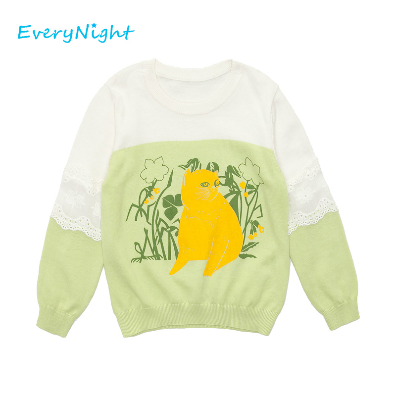 Every Night T-shirts For Girls Children Brand Long Sleeves Tops Tees Bobo Choses 2017 Spring Autumn T-shirts 6-10 Years Girls