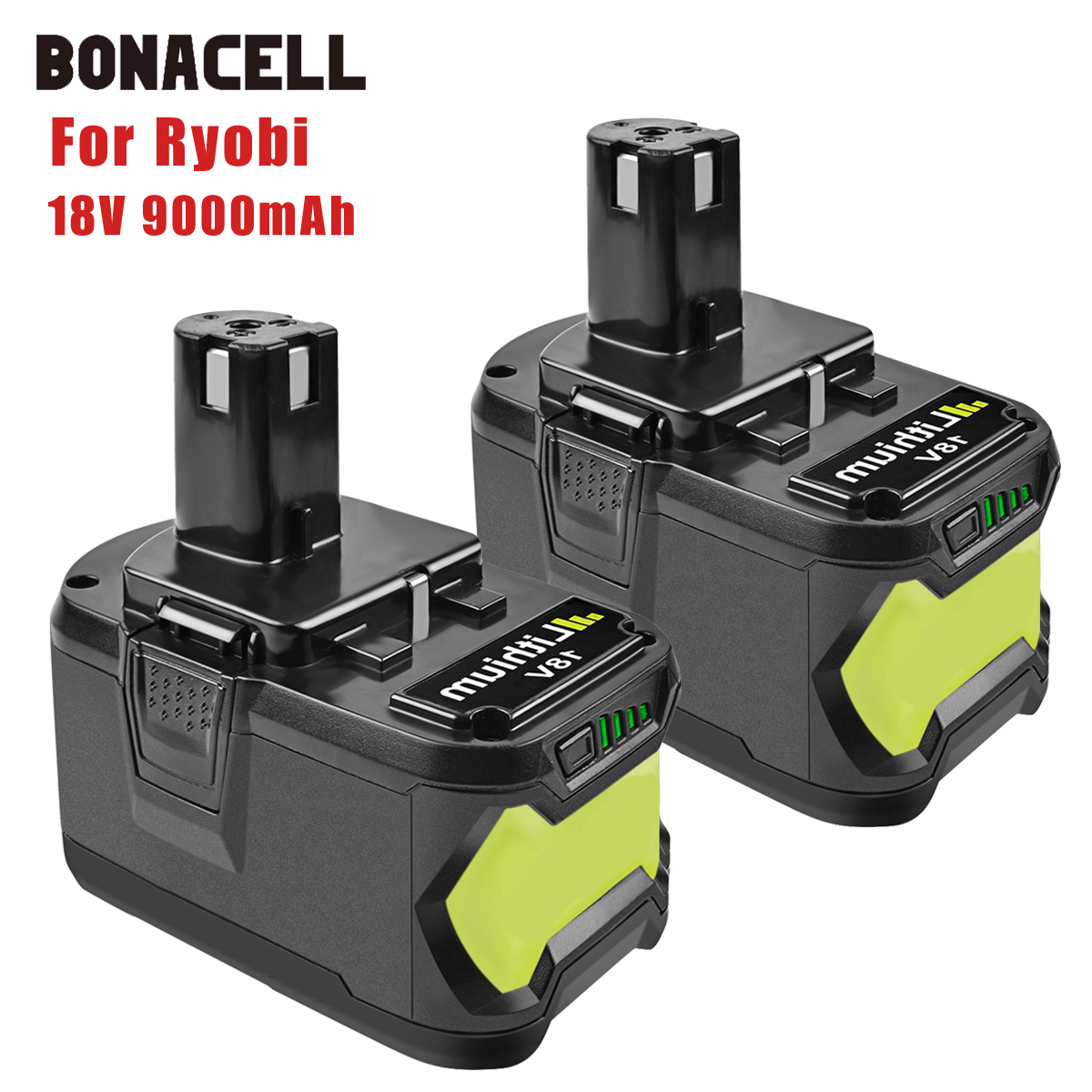 Bonacell 18V 9000mAh Li-Ion P 108 P108 Rechargeable Battery For Ryobi Battery RB18L40 P2000 P310 For BIW180 L30
