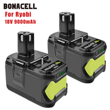 Bonacell 18V 9000mAh Li-Ion P108  Rechargeable Battery For Ryobi Battery RB18L40 P2000 P310 for BIW180 L30  lithium battery znter battery for ryobi 18v 6000mah p108 rb18l40 lithium ion rechargeable battery pack power tools battery ryobi one