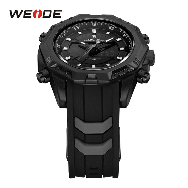 WEIDE Men Sport Analog Quartz Movement Digital Display Day Back Light Alarm Black Silicone Strap Buckle Auto Date Wristwatches