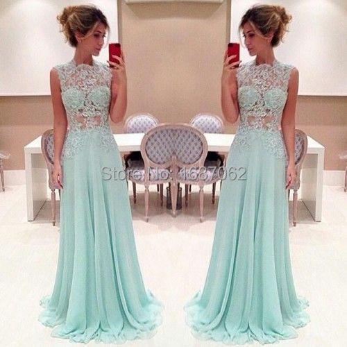 Aliexpress.com : Buy Custom Dresses High Neck Lace Mint Prom ...