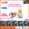 1pcs 19mm 10A Latching Face Push Button Switch Waterproof Maintained Flat Stainless Steel Metal LED Light