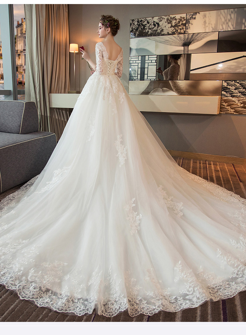 Muslin V neck white wedding dresses with Sleeves Gorgeous bridal dress royal train Wedding party gown Vestidos De Noiva Princesa in Wedding Dresses from Weddings Events