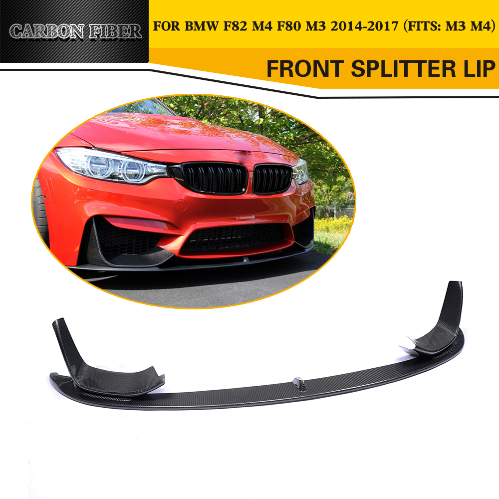 carbon fiber car front Bumper lip Chin Spoiler Extension With splitters for BMW New 4 series F80 M3 F82 F83 M4 14-17 P Style olotdi carbon fiber front lip spoiler gts style front bumper for bmw e92 e93 m3 bumper car styling accessories factory