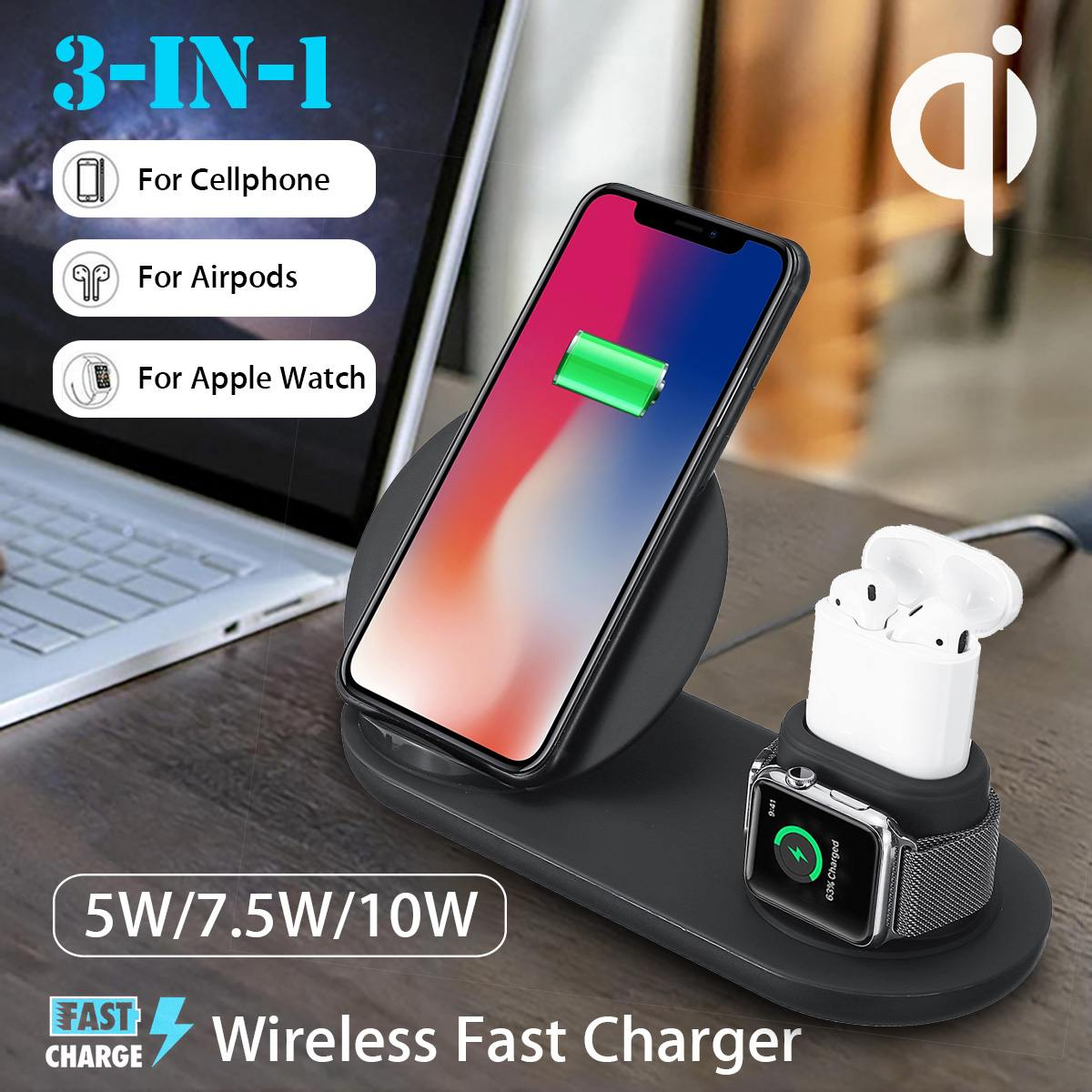Mobile Phone - 3 in 1 Wireless Charger Dock Station