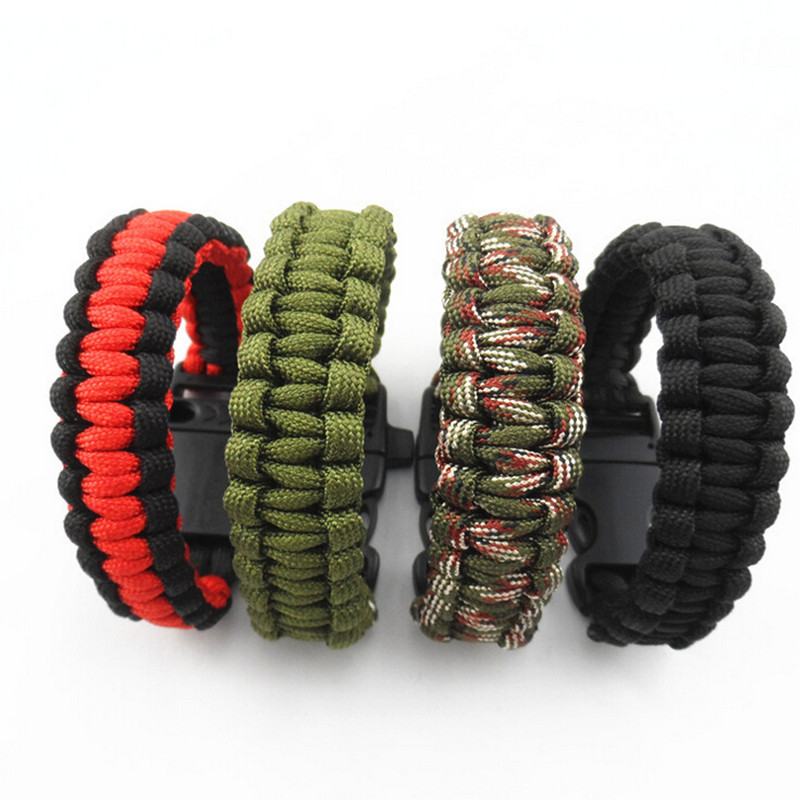 2017 Camping Hiking Survival Parachute Cord Bracelet For Men Women Rope With Whistle Buckle Emergency Kit Wristbands Men Jewelry