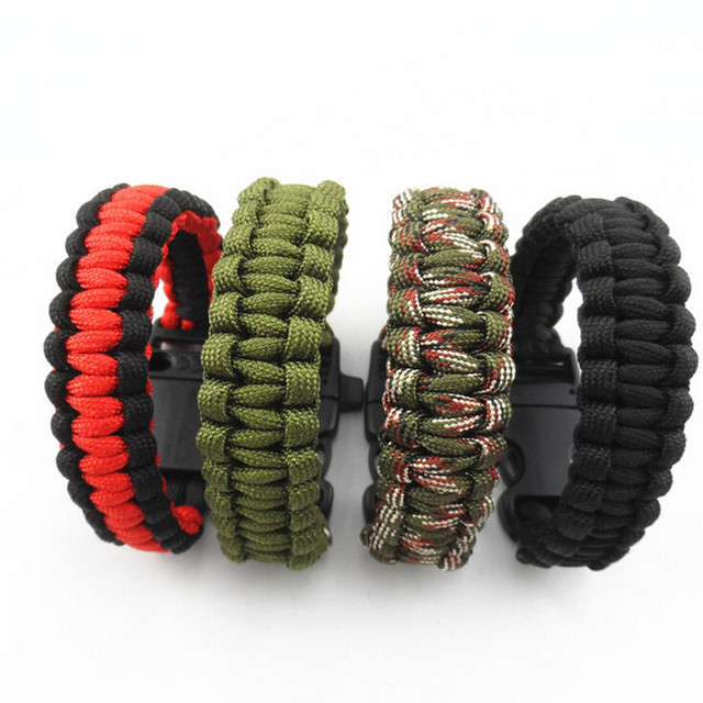 2017 Camping Hiking Survival Parachute Cord Bracelet For Men Women Rope With Whi