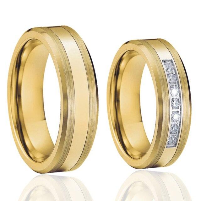 Exceptionnel Alliance or couleur couple de tungstène anneaux de mariage de  JG97