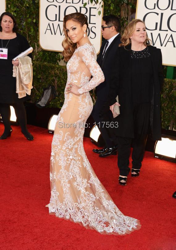Jennifer Lopez Zuhair Murad Lace Long Sleeves the 71th Annual Golden Globe Awards Celebrity Dress 2014 Red Carpet Evening Gowns 0114B 169.jpg