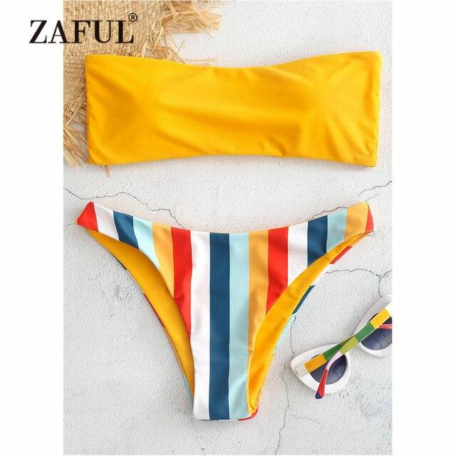 becac6f3b ZAFUL Rainbow Bandeau Bikini Swimwear Women Swimsuit Striped Tube Thong  Bikini Set Low Waist Padded Contrast Biquni Bathing Suit