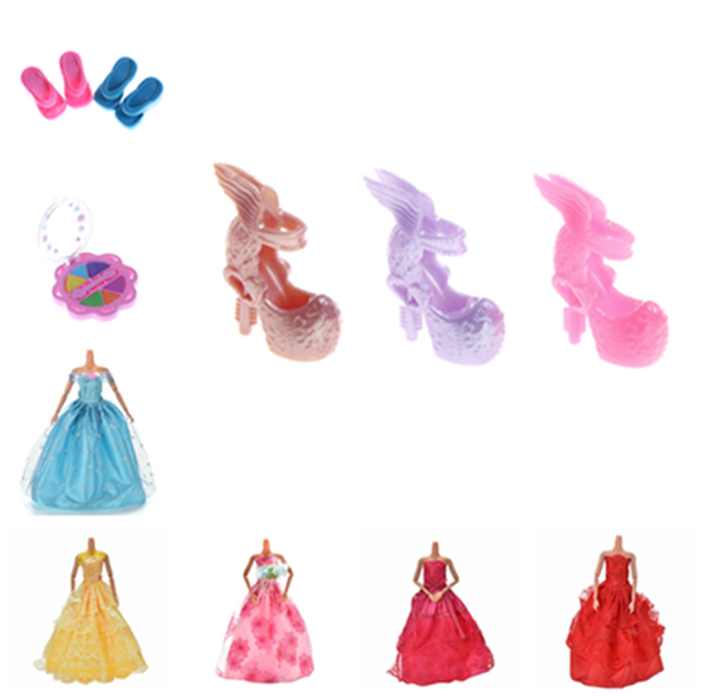 Doll Clothes Fashion Dress Daily Wear Skirt Party Gown Cosmetics Eyeshadow Lipstick Rings Shoes For Barbie Doll Accessories