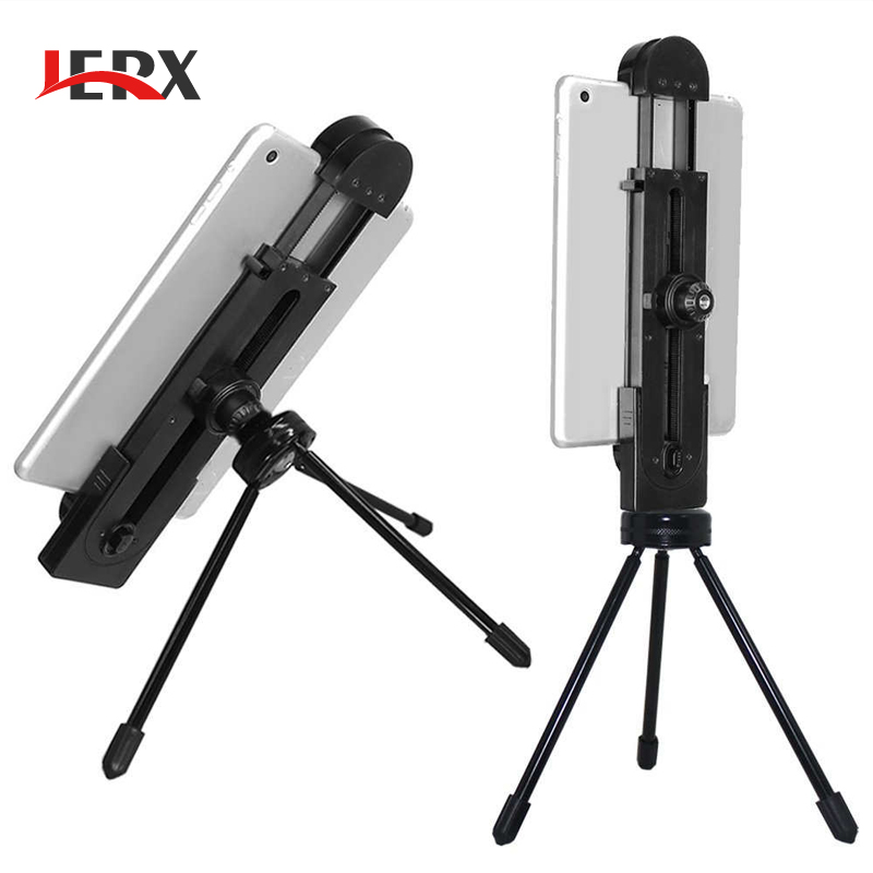 JERX for iPad Tablet Tripod Mount Adapter Flexible Adjustable Clamp Tablet Holder for iPhone iPad Air Pro 5inch-12inch Screen