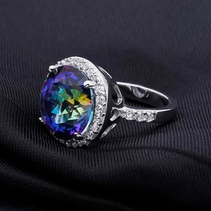Image 3 - Gems Balle 13.0Ct Natural Blueish Mystic Quartz 925 sterling silver Cocktail Rings Fine Jewelry For Women Wedding Engagement