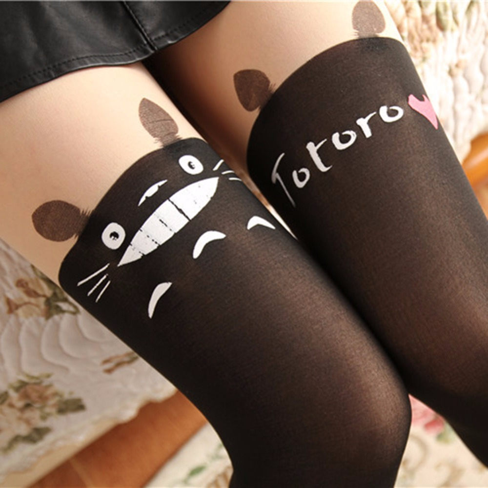 2017 Black Sexy Tattoo Stockings Girls Sexy Pantyhose Over Knee Stockings Fashion Women Nylon Cute Cat Totoro Knee High Tights