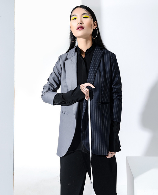 [soonyour] 2017 Europe wind Fashion New left and right Split Joint Spelling Color Asymmetry Chalaza Suit Loose Coat Woman 47632S