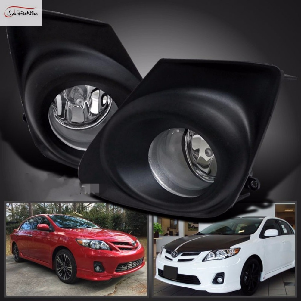 JanDeNing Fog Lamp for Toyota COROLLA/ALTIS 2011-2013 Front Clear Fog Lights Driving Bumper Lamp assembly kit (one Pair) 1set front chrome housing clear lens driving bumper fog light lamp grille cover switch line kit for 2007 2009 toyota camry