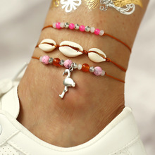 New Summer Beach Red Rope Ankle Bracelets for Women Bohemian Creative Shell Pendant Pink Beads Foot Chain Anklets Set
