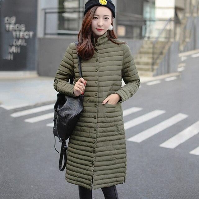 d1b524b5a4c Ultra Light Cotton Padding Jacket Women Long Puffer Coat Plus Size 2018  Winter Stand Collar Lightweight Cotton Parka Streetwear