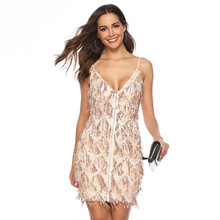 women clothings party dress Sleeveless Perspective New European American Womens Wear V Neck Long Sexy Party Dresses in tassels