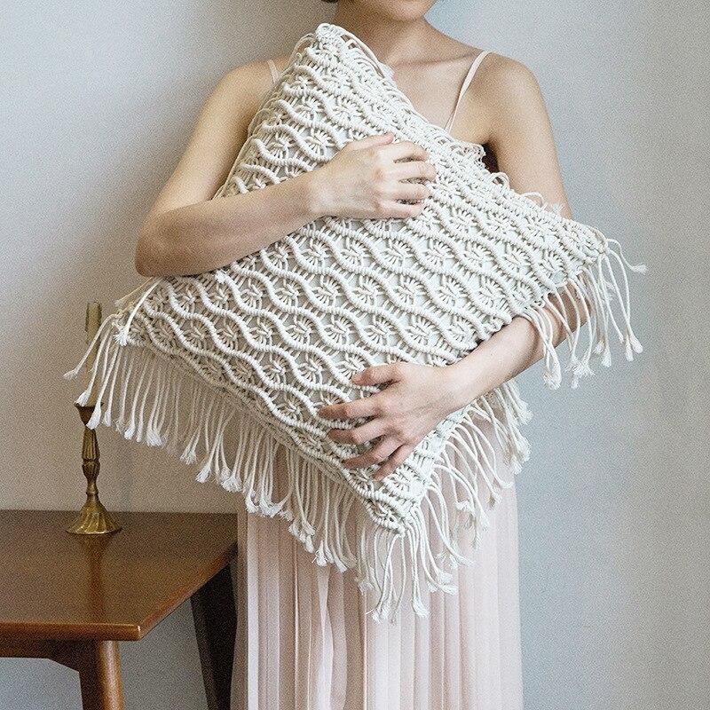 Lannidaa bohème fait à la main crocheté housse de coussin carré cercle solide doux décoration de la maison canapé voiture solide taie d'oreiller avec noyau
