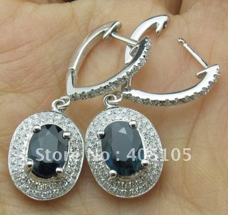 WHOLESALE SOLID 14K WHITE GOLD NATURAL COLUMBIA SAPPHIRE & DIAMOND EARRINGS, FASHION