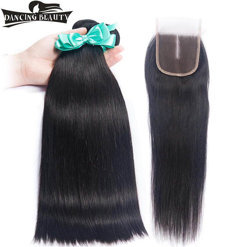 DANCING BEAUTY Pre-Colored 3 Bundles Straight Brazilian Hair With Closure Human Hair Weave With Lace Closure Non Remy