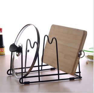 High quality multifunctional tableware storage rack cutting board rack shelf pot rack iron material can be flat or upright