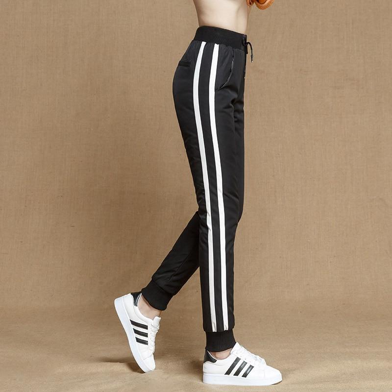 De Con Chándal Casual Elástica Mujer Lados Rayas 90 Alta Completa Impermeables En Cintura Pantalones Negro Skinny Longitud Los Plumón Para Shuchan FYSEqY8