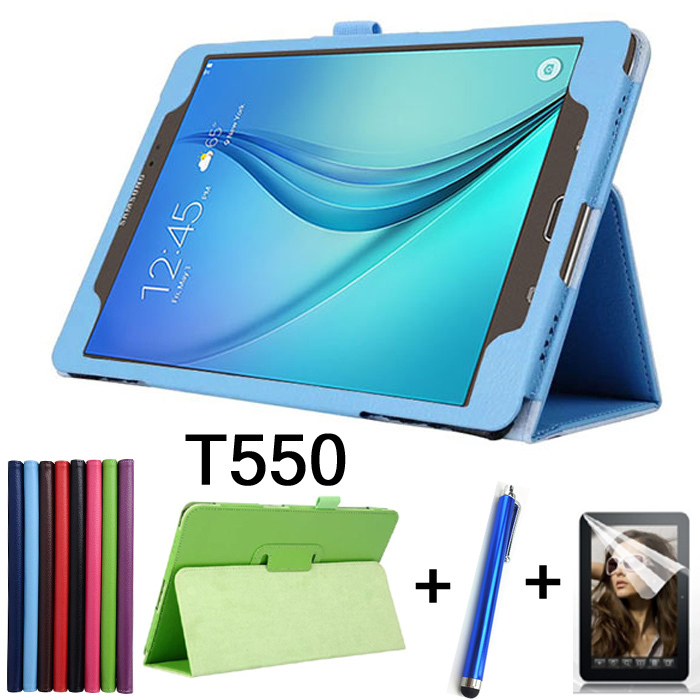 Stylus+film+Luxury Case For Samsung Galaxy TabA SM-T550 T555 Case Lichee Style PU Leather Stand Cover for Samsung Tab A 9.7 inch metal ring holder combo phone bag luxury shockproof case for samsung galaxy note 8