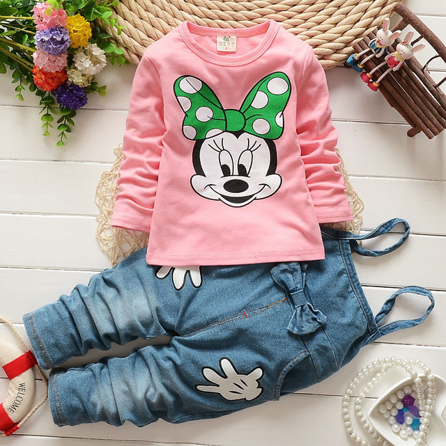 Spring Animation Mouse Girls Clothes Long-Sleeved T-Shirt Printing+Strap Denim Trousers Two Piece Set Girl Set Childrens Clothes