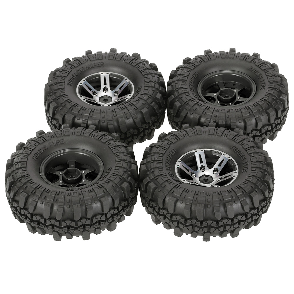 4Pcs AX 4020B 1 9 Inch 110mm RC Tires 1 10 Rubber Tire Alloy Beadlock Wheel