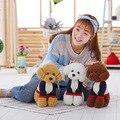 2017 Nuevo Kawaii 38 cm Animales de Peluche Del Perro de Peluche Con Ropa Stufffed juguetes de Gran Tamaño Caniche Cachorro de Perro Modelo de Simulación de la Muñeca Juguetes Para Niños