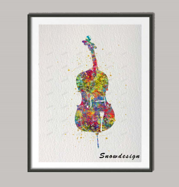 Unique Online Shop DIY Original watercolor Violin Cello wall art canvas  HZ06