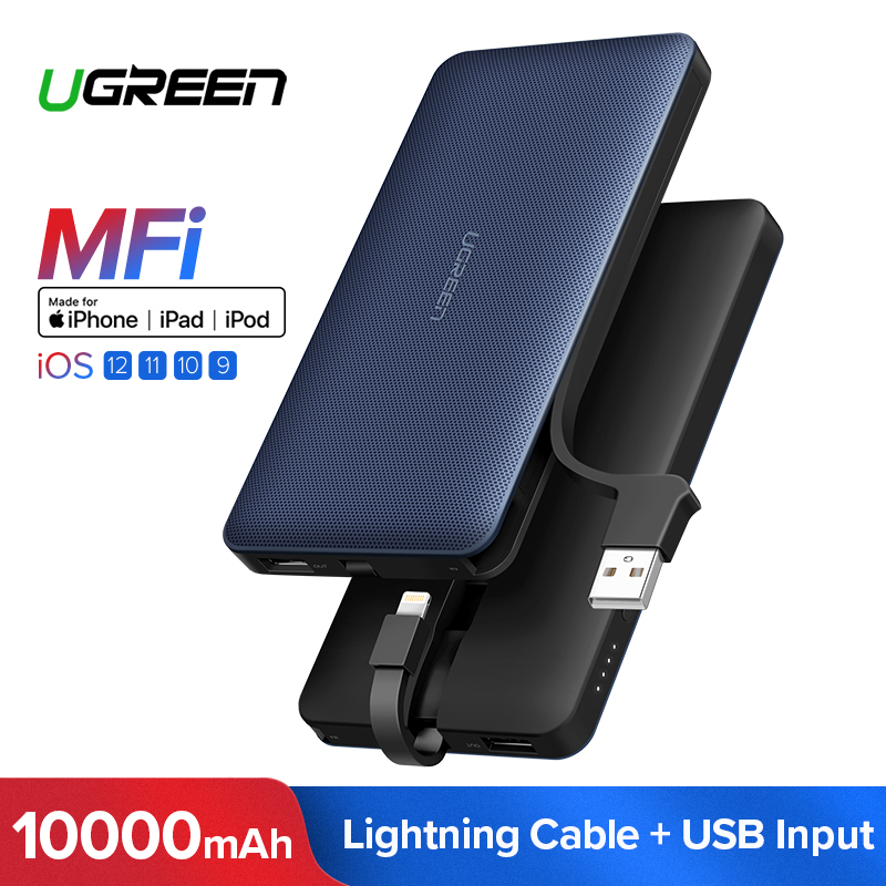Banco Do Poder 10000 mAh Para o iphone X 7 Ugreen Xiaomi Powerbank Bateria Externa Para O Cabo USB iPhone Carregador Portátil poverbank