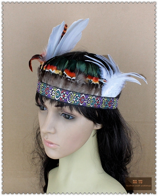 Indian Style Girls Feather Hair Band Performance Dancer Headwear