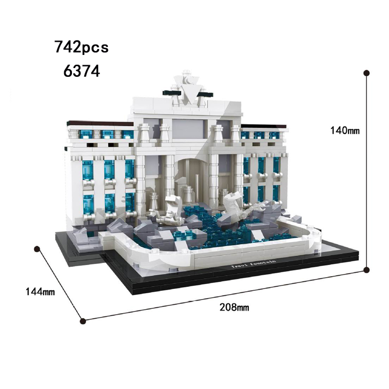 Hot world famous architecture Trevi Fountain Rome Italy building block model bricks educational toys collection for kids gifts new mini diamond building block world famous places architecture 3d russia saint basil s cathedral model nanoblock for kid gift