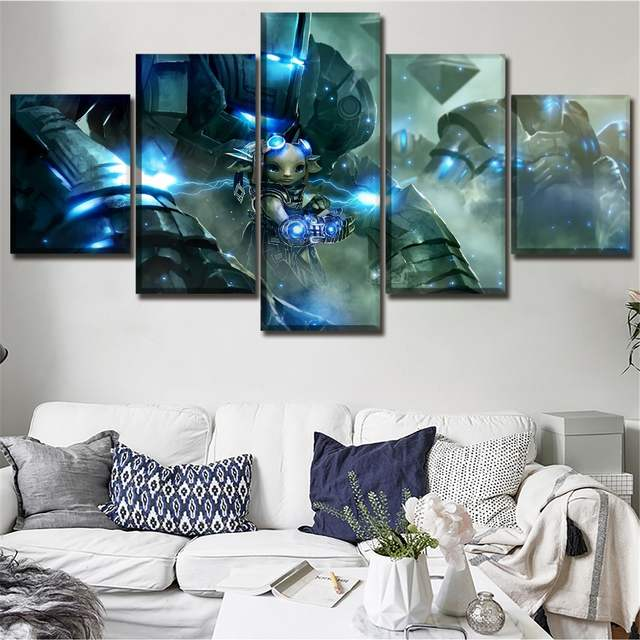 US $5 1 49% OFF|One Set 5 Pieces Game Guild Wars 2 Poster Canvas Art Print  Modular Pictures Modern Artwork Home Wall Decor Framework Painting-in