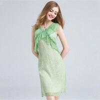 100 Silk Dress Mint Green Ruffles Decoration Solid V Neck Sleeveless Grade Fabric Cute Style Summer