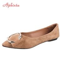 Aphixta Loafers Shoes Women Flat Flock Spring Autumn Art Handmade Shoes Casual Metal Comfortable Flat HeelSlip