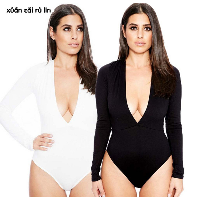 ccb4f35cdb4b 2018 white black red Sexy clubwear Bodysuit v neck bodysuit long sleeve  Bodycon jumpsuit body top overalls women rompers Jumpers